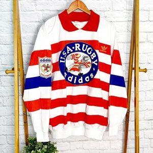ADIDAS VINTAGE Rare 80s USA rugby stripe jersey